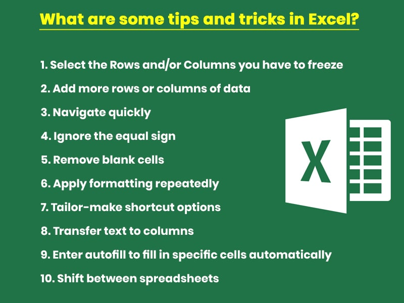 What are some tips and tricks in Excel?