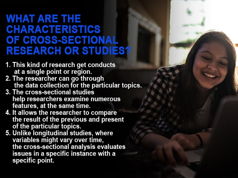 What are the characteristics of Cross-sectional research or studies?